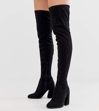 Asos Design DESIGN Wide Fit Wide Leg Korey heeled thigh high boots in black