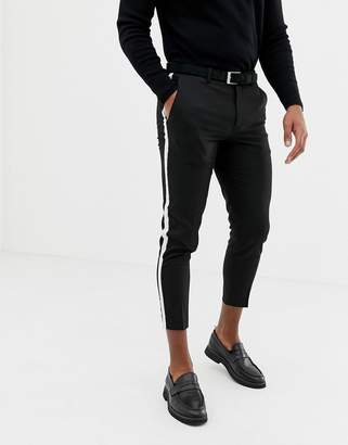 33fdcbfcf Burton Menswear cropped smart trousers with side stripe in black
