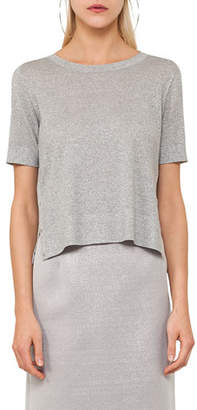 Akris Punto Round-Neck Short-Sleeve Cropped Knit Top with Side Snaps