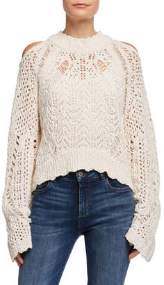 IRO Unctuous Crochet Cold-Shoulder Sweater