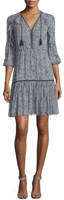 Elie Tahari Landon 3/4-Sleeve Printed Silk Dress, Cocoa/Navy $468 thestylecure.com