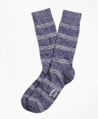 Brooks Brothers Marled Tri-Stripe Cotton-Wool-Blend Socks