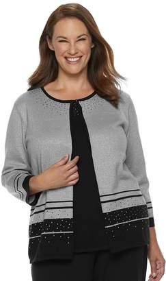 Alfred Dunner Plus Size Studio Embellished Striped-Hem Mock Layer Top
