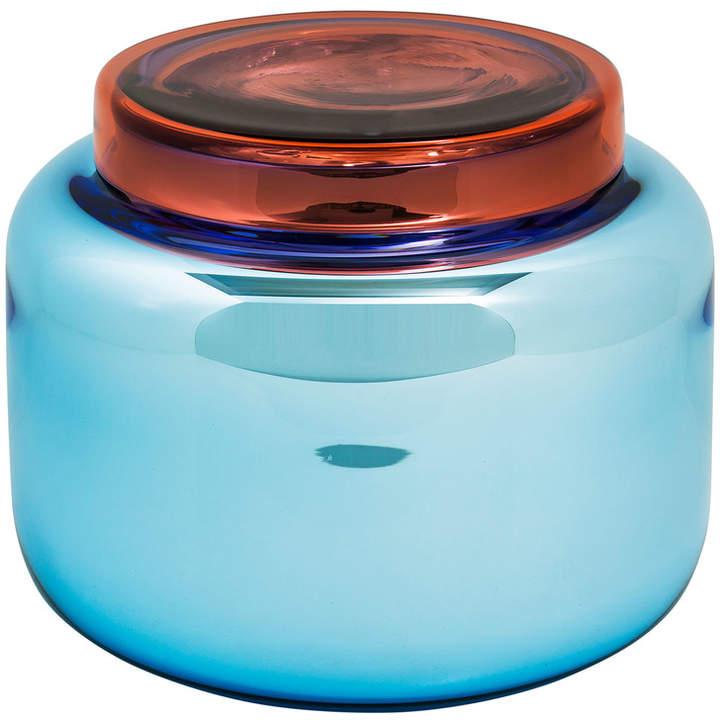 Pulpo - Low Container, Blau versilbert / Deckel rot