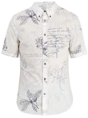 Alexander McQueen Leaf Print Short Sleeved Cotton Shirt - Mens - White Multi