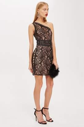Topshop One Shoulder Lace Bodycon Dress
