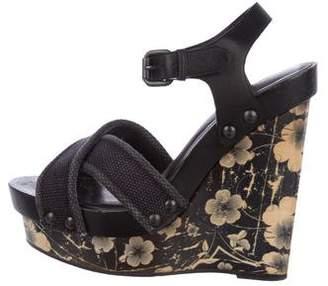Bottega Veneta Leather Platform Wedge Sandals