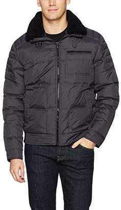Kenneth Cole New York Men's Oxford Aviator Down Jacket with Faux Sherpa Trimmed Collar