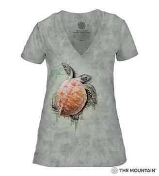 The Mountain Women's Tri-Blend V-Neck Sea Turtle Climb T-Shirt