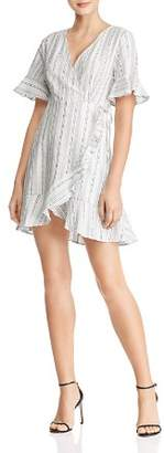 En Creme Ruffled Striped Wrap Dress