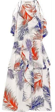 Ruffled Printed Silk Crepe De Chine Dress