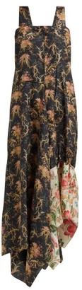 By Walid Manal Floral Print Raw Silk Midi Dress - Womens - Black Multi
