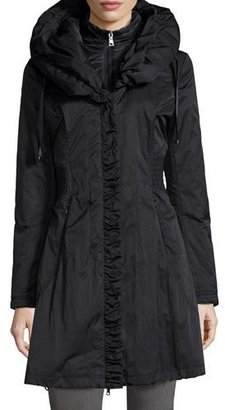 Elie Tahari Hooded Ribbed-Trim A-Line Jacket, Black $240 thestylecure.com