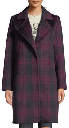 Cupcakes And Cashmere Aldean Plaid Snap-Front Long Coat