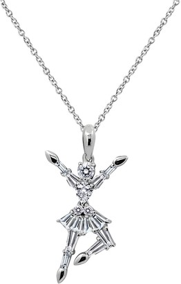 Diamonique Sterling Ballerina Pendant with Chain