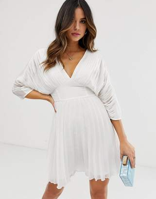 Asos Design DESIGN pleated mini dress with batwing sleeves