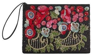 Violeta BY MANGO Flowers sequins clutch