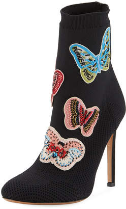 Valentino Butterfly Beaded Knit Sock Booties