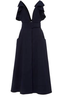 Oscar de la Renta Ruffled Stretch-Cotton Midi Dress