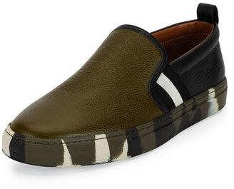 Bally Herald Leather Slip-On Sneaker w/Camo Sole, Green/Black/White $395 thestylecure.com