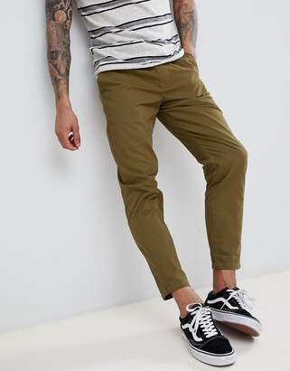 D-Struct Elastic Waist Cropped Chino Pants