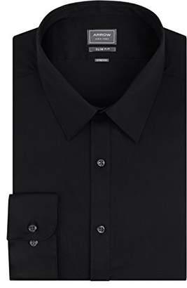 Arrow Men's Stretch Slim Fit Textured Solid Point Collar Dress Shirt