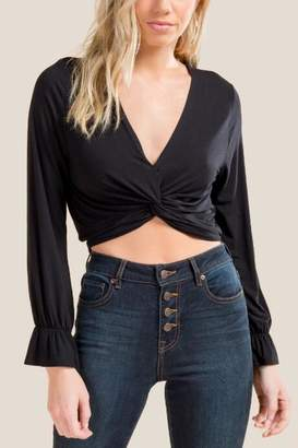 francesca's Sasha Twist Front Crop Top - Black