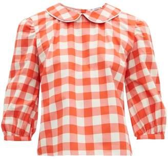 Batsheva Peter Pan Collar Gingham Cotton Blouse - Womens - Red