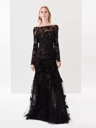 Oscar de la Renta Lace and Sequin Embroidered Tulle Gown