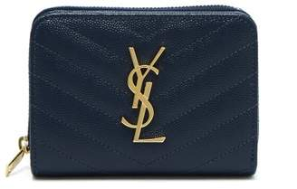 Saint Laurent - Monogram Quilted Leather Wallet - Womens - Navy