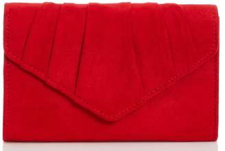 Dorothy Perkins Womens *Quiz Red Faux Suede Pleat Bag