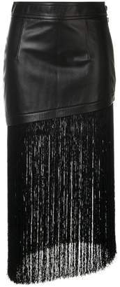 Helmut Lang asymmetrical fringed skirt