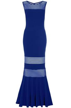 Quiz Royal Blue Mesh Insert Fishtail Maxi Dress
