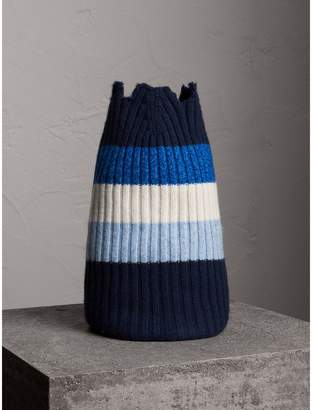 Burberry Striped Cashmere Open-top Beanie