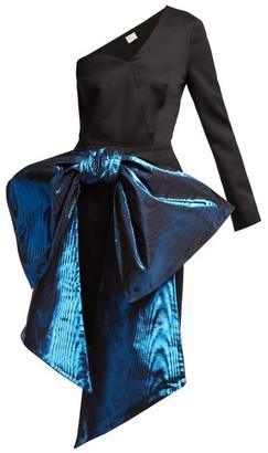 Hillier Bartley - Bow Trim One Shoulder Wool Twill Dress - Womens - Black Multi