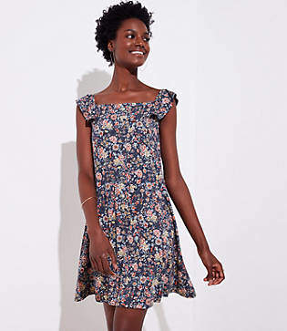 LOFT Petite Rose Garden Flutter Swing Dress
