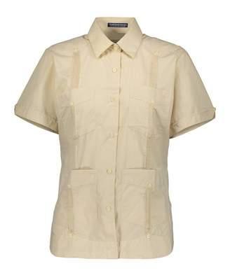 AKA Women's Wrinkle Free Short Sleeve Linen Look Guayabera Shirt Extra Large