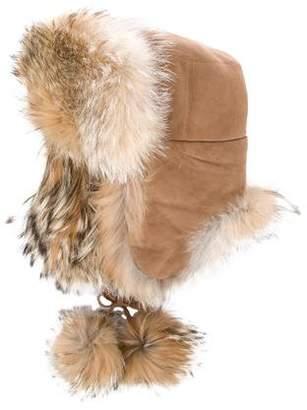 Christian Dior Suede Fur-Trimmed Hat