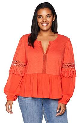 Lucky Brand Women's Size Plus Cutout Peasant TOP