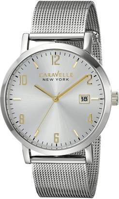 Bulova 45B128 Caravelle New York Men's Quartz Analog Watch with Silver Dial and Stainless Steel Bracelet