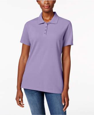 Karen Scott Petite Pique Cotton Polo Shirt, Created for Macy's