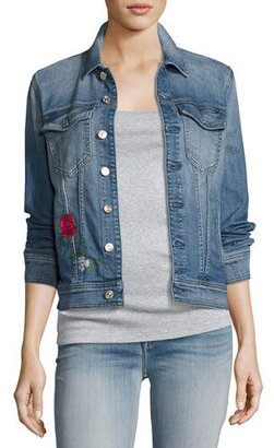 7 For All Mankind Trucker Rose Embroidered Jacket, Blue $299 thestylecure.com