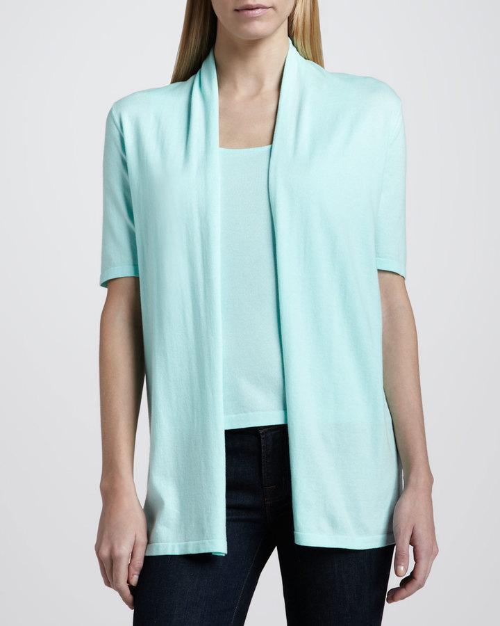 Neiman Marcus Cotton Half-Sleeve Draped Cardigan