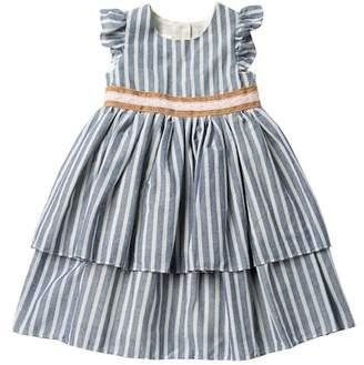 Laura Ashley Tiered Ruffle Striped Dress (Toddler & Little Girls)
