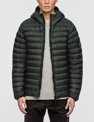 Stone Island Garment Dyed Micro Yarn Hooded Down Jacket $698 thestylecure.com