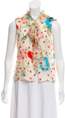 Ungaro Sleeveless Printed Silk Top