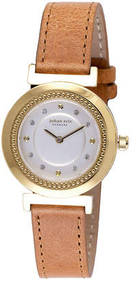 Johan Eric Djursland Quartz Swarovski Crystal Tan Leather Strap Watch