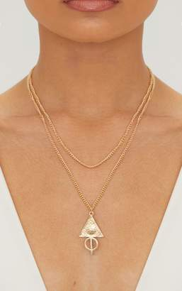 PrettyLittleThing Gold Renaissance Triangle Pendant Double Layer Chain Necklace