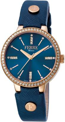 Ferré Milano Women's FM1L084L0041 Dark blue Dial With Dark Blue Leather Calfskin Band Watch.