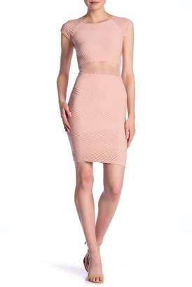 Bebe Textured Mesh Waist Bodycon Dress